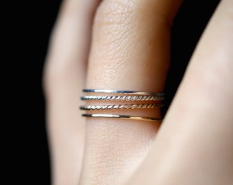Ultra Thin Gold and Silver Twist stacking rings set of 4, 14K gold fill stack rings, skinny silver stack ring, twist ring stacking ring