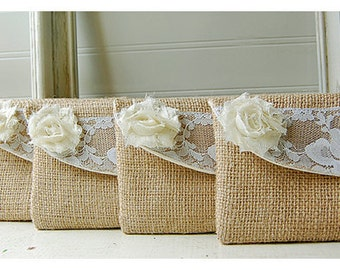 burlap lace wedding, clutch purse, bridesmaid clutch, bridal, rustic wedding, shabby chic, choose flower color, Personalize, Bridesmaid gift