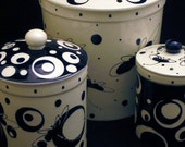 Custom Three Canister Set for Robyn. Colorful Canister Set. Whimsical. Circles. Dots. Handmade by Sara Hunter Designs