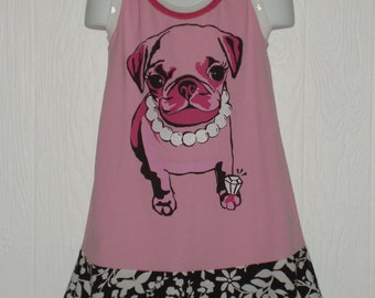 Upcycled Jeweled Puppy Dress In Size 3-4-5