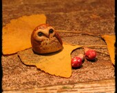 faery owl and mushroom miniatures painted clay