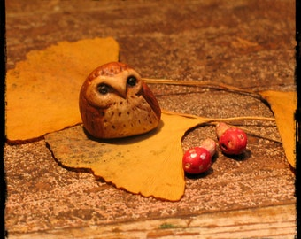 faery owl and mushroom miniatures painted clay