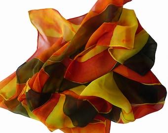 Hand Painted silk scarf - Orange Stripes