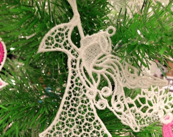 Angel Lace Christmas Tree Ornament - Lace Angel Ornament for Christmas Tree