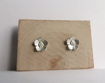 Sterling Silver Cherry Blossom Floral Stud Earrings