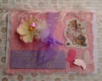 Greetings or Birthday Card - Edna Mouse - flowers and butterflies, mamelok embossed scrap, altered art card