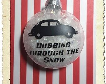 Volkswagen Beetle VW Bug Dubbing Through The Snow Christmas Ornament