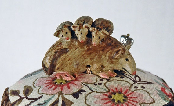 Mama Opossum Vintage Style Pincushion on a Glazed Chintz  Tuffet