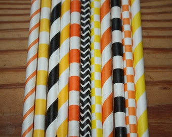 30 Construction Party Straws, Paper Straws, Black, Orange, Yellow, Super Hero,