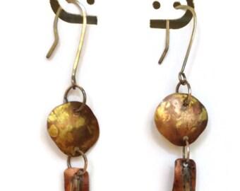 Boho copper dangle earings