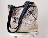 Dragonfly Grey Linen Tote - Hand Printed - Hemp Canvas -  2 Pockets
