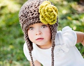 Womens Aviator Hat with Large Flower and Tassels - CUSTOM COLORS