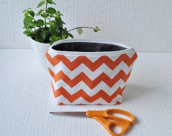 6 x 9 Zippered Pouch - Orange Chevron and Gray