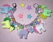 Pony Charm Bracelet Pony Jewelry My Little Pony Inspired Bracelet Rainbow Ponies Pretty Cute Fun Girly Adult Teen Tween Chunky Horse Jewelry
