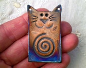 Cat Bead with Spiral, Raku Bead, Handmade Ceramic Jewelry Supply