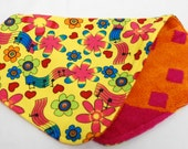 Baby Girl Burp Cloth, Baby Shower Gift, Welcome Baby Gift:  Colorful Flowers, Hearts and Musical Notes on Yellow