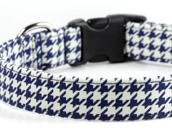 Dog Collar Blue Houndstooth