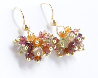 Claudia - Multi-colored Sapphires and Gold Filled Earrings || Multi Colored Earrings || Sapphire Cluster Earrings