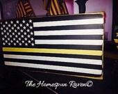 Thin Gold Line Primitive Flag Dispatch Dispatchers EMS Wood Sign Plaque Law Enforcement