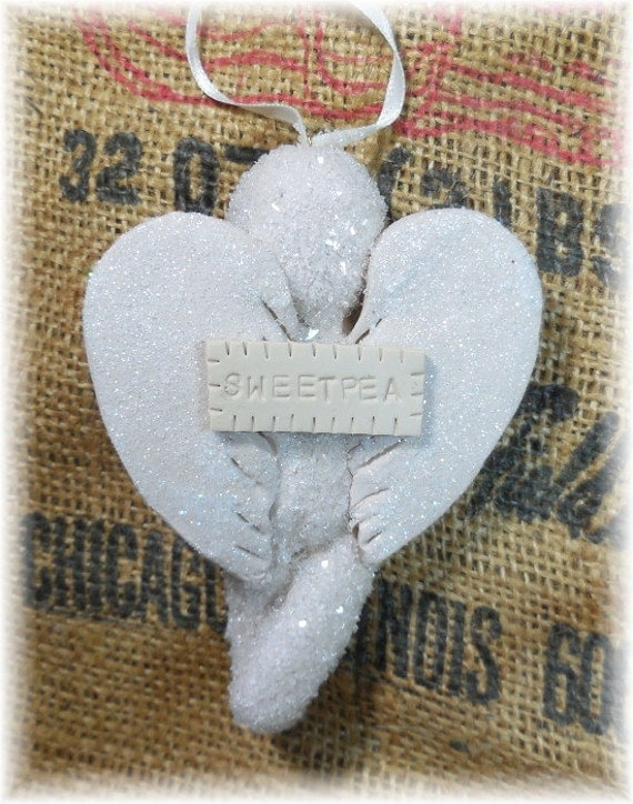 """Baby's First Christmas """"Little Sweetpea"""" Keepsake Angel Ornament Hand Stamped Personalization Free OFG Team"""