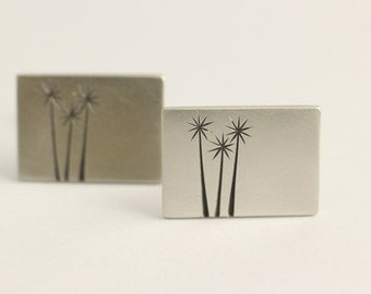 Cufflinks in Sterling Silver with  a trio Native New Zealand Tree Etchings