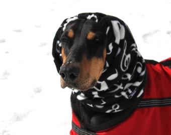 Polarfleece Snood for Large Dog - Dobersnood - Black with music notes - Dog Snood - Snood