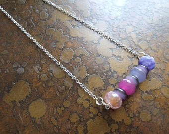 Glamorous Twist Mixed Agate & Catseye necklace