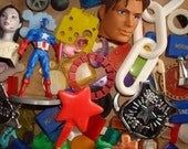 Vintage Cigar Box filled with Plastic Toys for Assemblage, Sculpture, Jewelry Craft Art Supplies