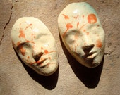 2 Glazed Ceramic Clay Cabochon Faces for Mosaic Crafts Assemblage Altered Art