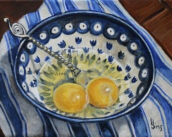 Boleslawiec Pottery bowl , gallery wall, blue and white kitchen art print, Polish pottery, Eggs Still Life Art for Kitchen, blue art