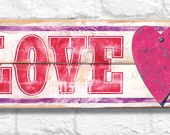 Price Reduced - Valentine Sign, LOVE,  Hand Painted Wood Sign