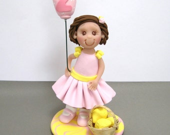 Pink Lemonade theme Birthday Cake Topper polymer clay decoration figurine MADE TO ORDER