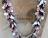 Polymer Pink and Grey Necklace WITH PEARLS