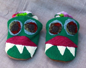 Green Monster Wool Slippers Kids  Slippers Leather Bottom Size 3-4 years old made from recycled materials