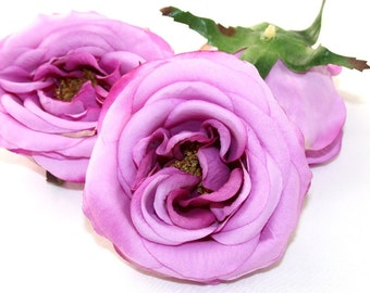 Silk Rose - 3 Fully Bloomed Life Like Rose Heads in Lilac - silk flowers, artificial flowers. WAS 10.25