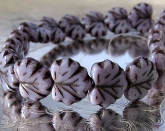 Lavender Czech Glass Maple Leaf Picasso Bead :  10 pc Purple Leaf