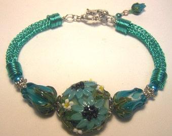 Teal Flower Garden Bracelet