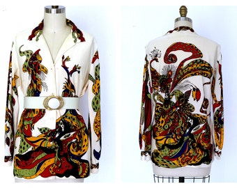 XL Vintage 70s Blouse/Hippie Boho Hand Screened  Dragon Print Tunic Blouse Top