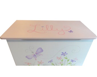 Childrens wooden toy box - Single Sided Design - Butterflies and flowers
