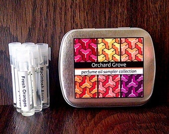 6 Perfume Oil Samples in a Metal Tin - Orchard Grove Fragrance Collection