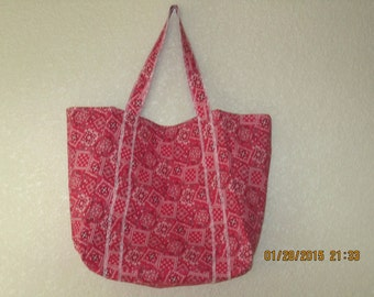 """Double Extra Large Durable 15.5"""" Grocery Shopper Reversible Market Tote Bag REDDISH-PINK Bandana  CLEARANCE 20% Off Was 19.50*"""