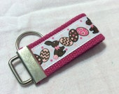 CHOCOLATE BUNNY EASTER  Mini Key Fob    ribbon / fabric on heavy cotton webbing  Buy 3 Get 1 Free