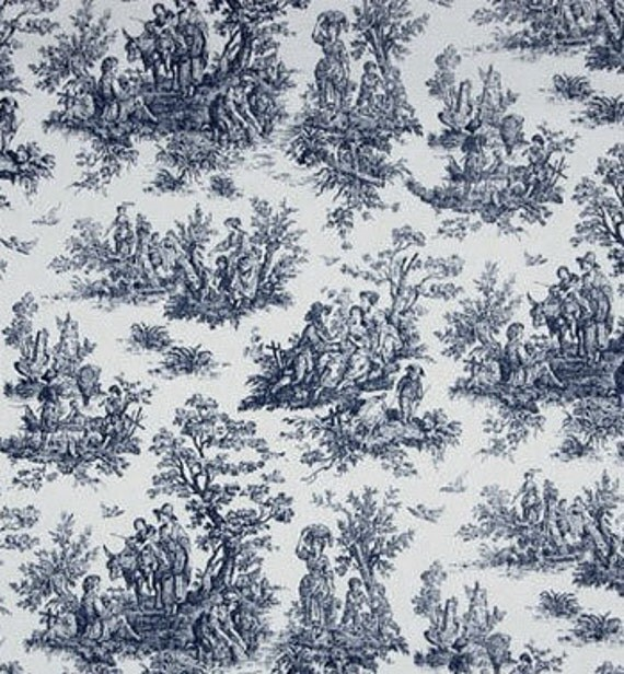 toile fabric colors yardage fabric by the yard navy blue. Black Bedroom Furniture Sets. Home Design Ideas
