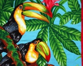 Two Toucans Quilted Wall Hanging, Jungle, Flowers, Tropical