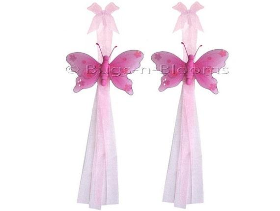 Butterfly Tie Backs Dark Pink Nylon Butterflies Tieback Decor Window Curtains Holder Holders