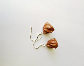 Milk Chocolate Whipped Cream Drop Sterling Silver Earrings