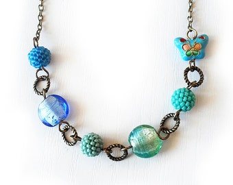 Blue Lampwork Beads Necklace - Butterfly and Beads Necklace - Beadwork Necklace - Ombre Blue Necklace