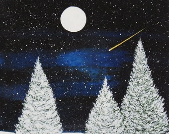 Border Collie Dog Puppy Large Art Print by Todd Young painting WINTER STARRY NIGHT