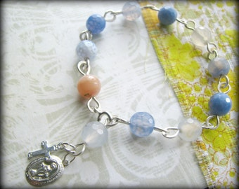 Mother Mary Rosary Artisan Linked Bracelet - Blue Lace Agate Pink Opal Gemstone Sterling Silver -Gift blue pink Birthday Easter Daughter