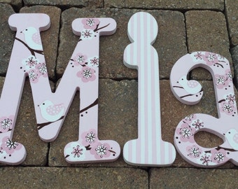 Custom hand painted wooden letters - Cherry blossom with green and white birds